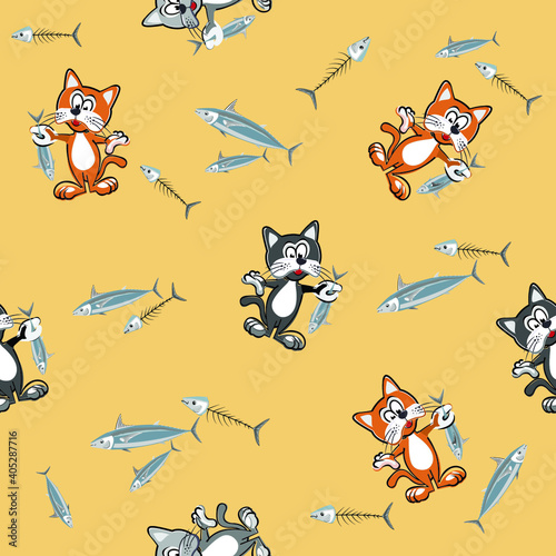 Vector seamless pattern with cute cartoon cats and fish. Funny fabric design for children's clothing, wallpaper, other.