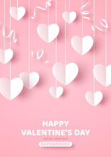 Happy Saint Valentine's Day Card, Hanging White Paper Cut Hearts With Streamers On Pastel Pink Background. Place For Text. Decorative Holiday Banner, Festive Web Poster, Romantic Flyer, Brochure.