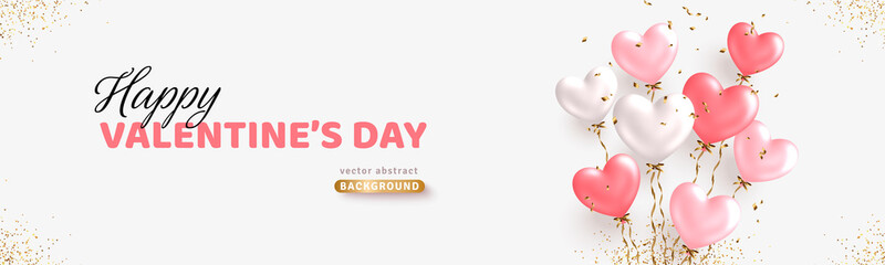 Valentine's day horizontal banner design. Realistic white and pink balloons. Ballon bunch with golden confetti. Decorative holiday banner, festive web poster, flyer, brochure. Romantic card background