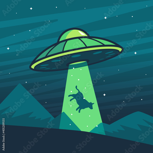 Canvas Print UFO abducting a cow, summer night farm landscape.