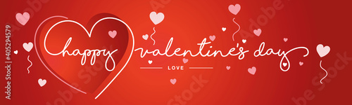 Obraz na plátně Valentines Day handwritten typography lettering line design heart with white red