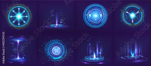 Slika na platnu Sci-fi futuristic gadgets and devices in HUD style