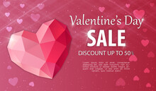 Valentines Day Discount And Price Drop Advertisment. Juwelry Heart With Lettering For Shop Promotion. Website, Web Page, Web Landing Page Template. Flat Cartoon Vector Illustration