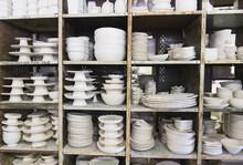 USA, New Jersey, Jersey City, Pottery On Shelves