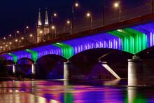 Autumn View Of Colourfull Lightened Slasko-Dabrowski Bridge In Warsaw, Poland