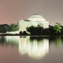 USA, Washington DC, Jefferson Memorial Reflecting In Tidal Basin At Dusk
