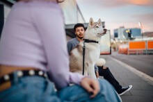 Siberian Husky Sitting By Couple On Footpath During Sunset