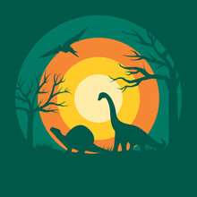 Flat Design Color Illustration Of A Giant Dinosaur