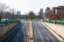Empty Memorial Drive Roadways Along The Charles River In Boston, MA.