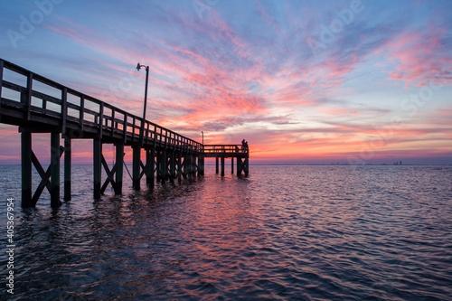 Pier Over Sea Against Sky During Sunset Fototapeta