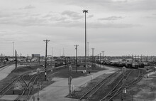 High Angle View Of Railroad Tracks Against Sky