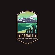 Emblem Patch Logo Illustration Of Denali National Park On Dark Background