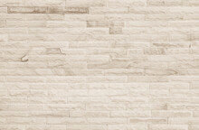 Empty Background Of Wide Cream Brick Wall Texture. Beige Old Brown Brick Wall Concrete Or Stone Textured, Wallpaper Limestone Abstract Flooring/Grid Uneven Interior Rock. Home Decor Design Backdrop.