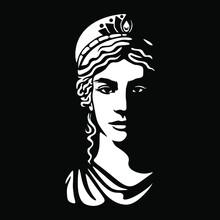 Greek Goddess Hera Illustration Black Backgorund