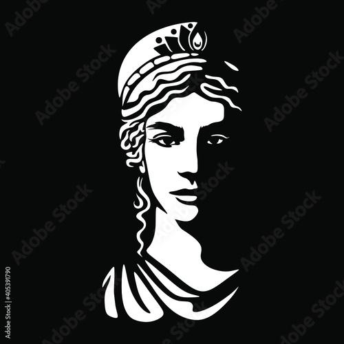 Fotografia greek goddess Hera illustration black backgorund