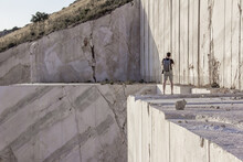 Photographer At A Marble Quarry In Andalusia (Spain)