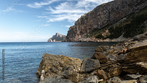 Tablou Canvas Beautiful shot of a lake surrounded by cliffs in Mallorca, Boquer Valley