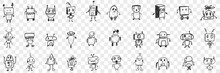 Various Smart Robots Doodle Set. Collection Of Hand Drawn Cute Electronic Robots With Human Heads In Rows Isolated On Transparent Background. Illustration Of High Technologies Concept