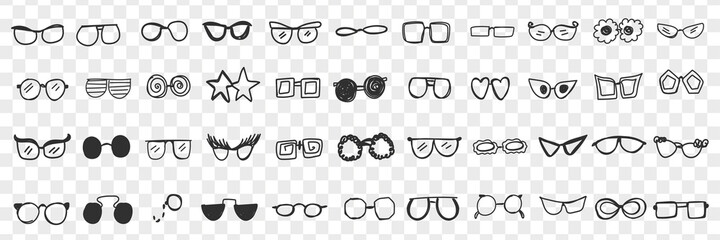 Various stylish sunglasses doodle set. Collection of hand drawn stylish sunglasses personal accessories for wearing on sun isolated on transparent background. Illustration of fashion belongings