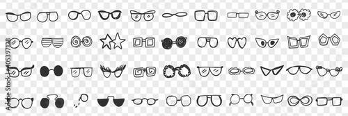 Obraz na plátně Various stylish sunglasses doodle set