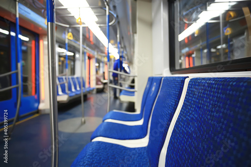 Tablou Canvas wagon train subway movement, transportation concept abstract background without