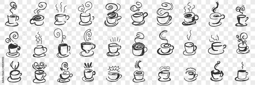 Fototapeta Hot drinks in cups doodle set. Collection of hand drawn hot tea, coffee, cocoa in mugs and cups for breakfast with flying steam isolated on transparent background. Illustration of hot homemade drinks
