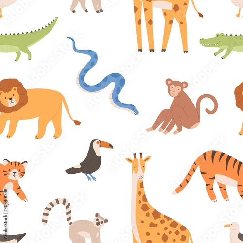 Fototapeta premium Seamless pattern with African wild tropical animals. Endless repeatable backdrop with monkey, tiger, lion, crocodile, snake, giraffe and birds. Colorful flat vector illustration on white background