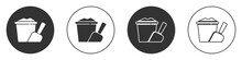 Black Sand In Bucket With Shovel Icon Isolated On White Background. Plastic Kid Toy. Summer Icon. Circle Button. Vector.