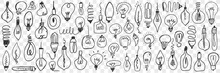 Various Electrical Lamps Doodle Set. Collection Of Hand Drawn Hanging Lamps Of Different Shapes For Home Electricity Isolated On Transparent Background. Illustration Of Illumination Equipment