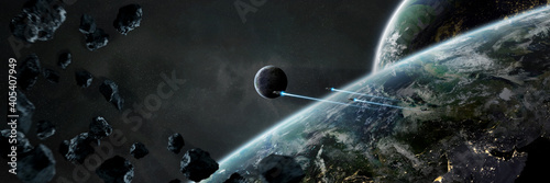 Obraz Panoramic space planets background. Panorama of distant solar system with exoplanets 3D rendering elements of this image furnished by NASA - fototapety do salonu