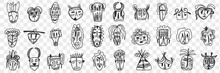 Various African Ancient Masks Doodle Set. Collection Of Hand Drawn Face Masks Of African Ethnicities With Different Patterns And Shapes Isolated On Transparent Background. Illustration Of Africa