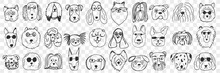 Dogs Faces Doodle Set. Collection Of Hand Drawn Funny Cute Faces Of Dogs Pets Of Different Breeds And Fur Styles Isolated On Transparent Background. Illustration Of Dogs Breeds For Kids