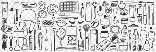Obraz na plátně Make up tools and cosmetics doodle set