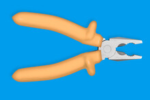 Metal Pliers With Rubber Grips Background On The Theme Of Tools, Repair Or Maintenance Of Equipment.