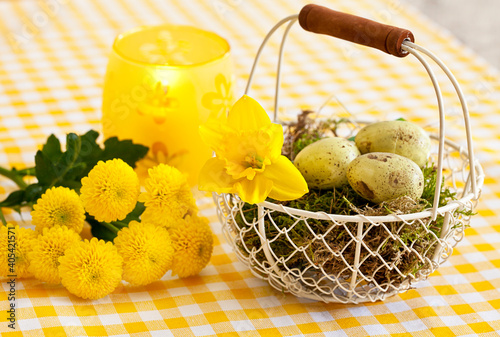 Obraz na plátně Yellow Daffodils And Wire Basket