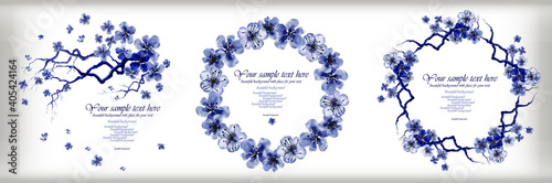 Obraz na plátně Blue floral watercolor gzhel frames and elements
