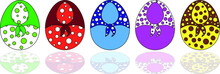 Set Of Eggs For The Easter Holiday In Bright Colors In A Circle And In A Scarf In A Circle On A White Background