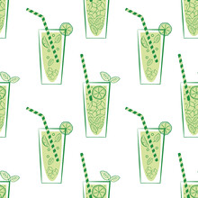 Lemonade Glass And Straw Vector Seamless Pattern Background. Retro Green White Geometric Backdrop With Drinks Glasses, Straws, Citrus Fruit, Minty Leaves. Mint Drink Beverage Repeat For Summer Party