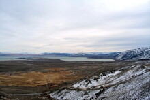 Beautiful View Over The Sierra Nevada Mountain Range From The Mono Lake Vista Point Lee Vining In Eastern California On A Cold Day In December