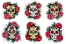 Mexican Skull Old School Roses Set. Mexican Skulls Set. Vector Illustration. Dia De Los Muertos Shugar Colorful Heads.