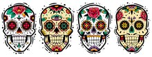 Mexican Skulls Set. Mexican Skulls Set. Vector Illustration. Dia De Los Muertos Shugar Colorful Heads.