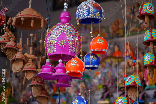 Canvas Indian lanterns hanging on the wall