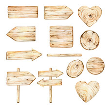 Set Of Wooden Signs.Wooden Boards Collection