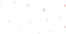 Childish Simple Seamless Pattern With Stars, Letters, Dots, Watercolor Illustration On White Background