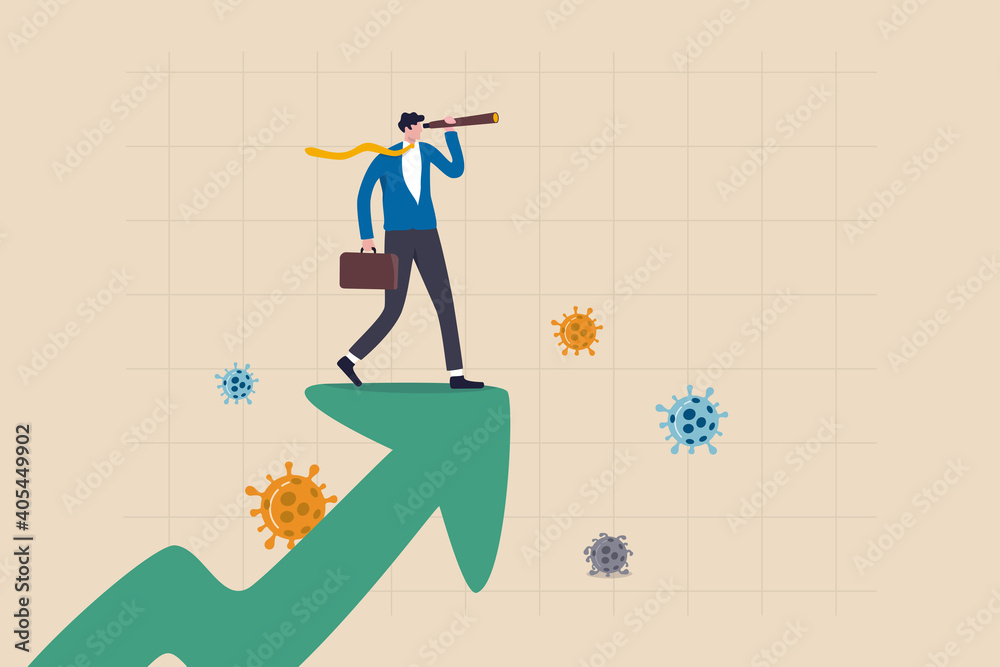 Fototapeta Post pandemic vision, economic outlook after Coronavirus COVID-19 crisis concept, smart businessman standing on upward rising growth graph using telescope to see the way forward with virus pathogen.