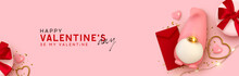 Valentine's Day Banner. Realistic Design Romantic Decorative Objects In 3d Scandinavian Gnome For Lovers Symbol. Gold Heart, Red Paper Mail. Gift Box With Red Bow. Pink Background. Header For Website