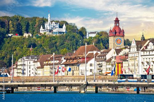 Fotografia, Obraz Luzern. Town of Luzern famous landmarks view from lake