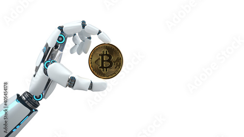 Obraz Robot Hand Bitcoin - fototapety do salonu