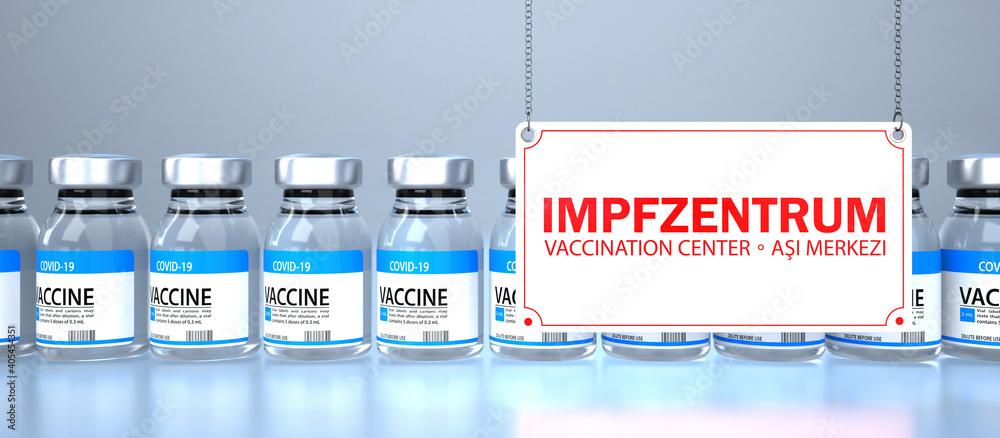 Fototapeta Impfdosen mit Schild Impfzentrum