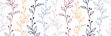 Berry Bush Branches Hand Drawn Vector Seamless Ornament. Boho Floral Textile Print. Grass Plants Foliage And Bloom Illustration. Berry Bush Twigs Linear Seamless Design